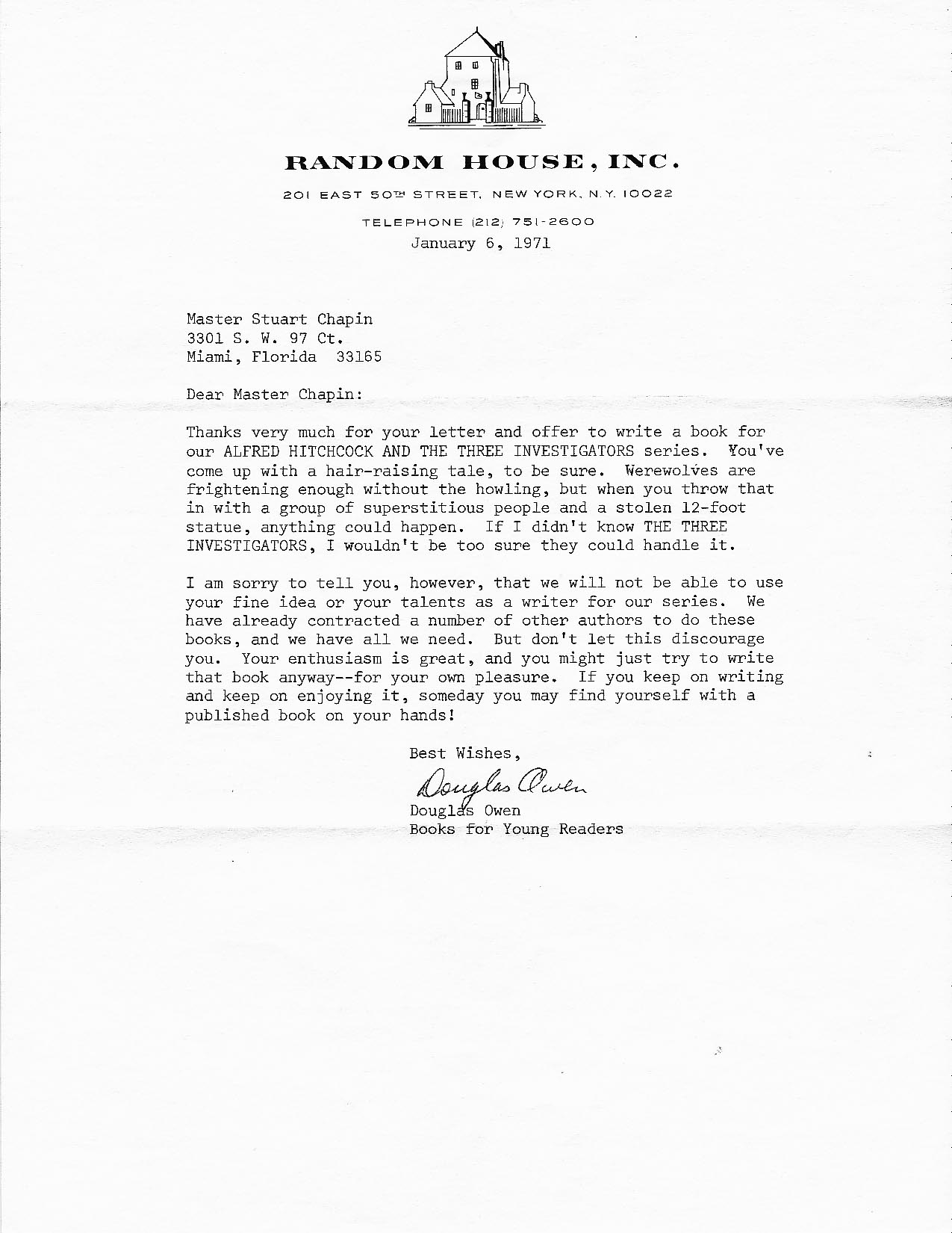 vintage letters three investigators dear master chapin thanks very much for your letter and offer